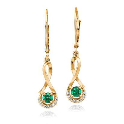 14K Yellow Gold Emerald/Diamond Earrings | ECC034E23CI
