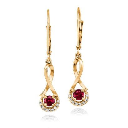 14K Yellow Gold Madagascar Ruby/Diamond Earrings | ECC034RM3CI