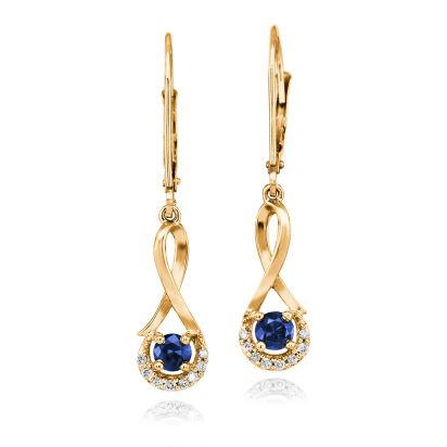 14K Yellow Gold Blue Sapphire/Diamond Earrings | ECC034S13CI