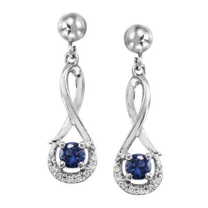 14K White Gold Blue Sapphire/Diamond Earrings with Ball Post