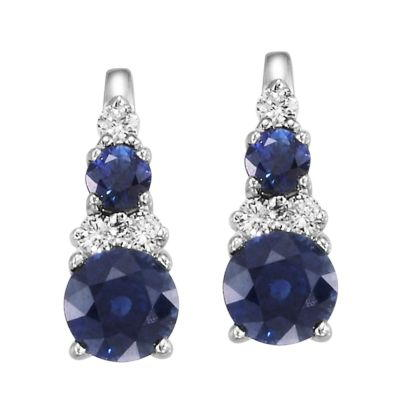 14K White Gold Blue Sapphire/Diamond Earrings | ECC044S13WI