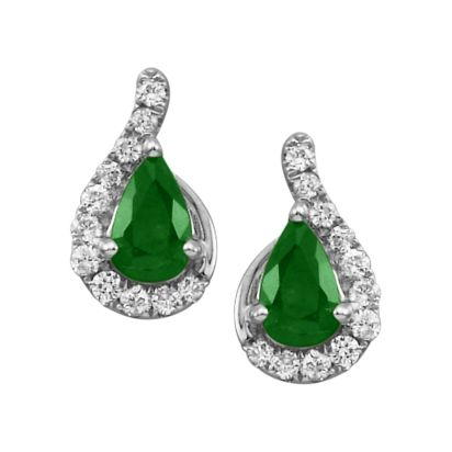 14K White Gold Emerald/Diamond Earrings | ECC049E23WI