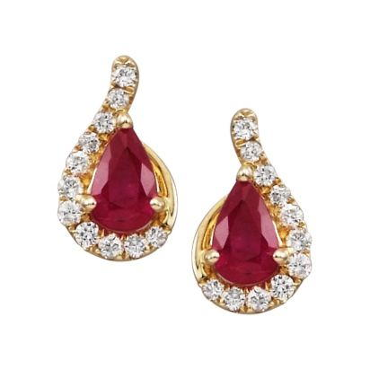 14K White Gold Ruby/Diamond Earrings | ECC049RZ3W-D
