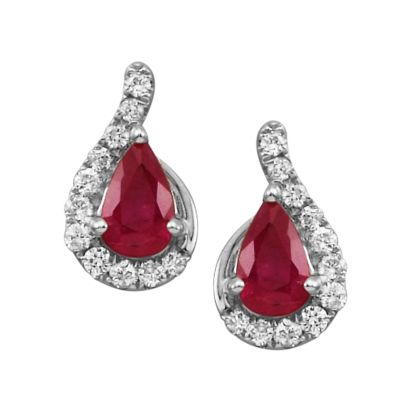 14K White Gold Ruby/Diamond Earrings | ECC049R23WI