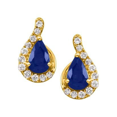 14K Yellow Gold Blue Sapphire/Diamond Earrings | ECC049S13CI