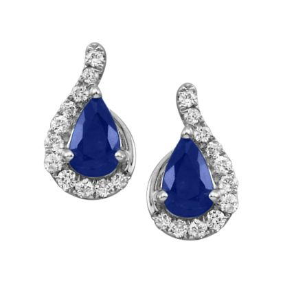 14K White Gold Blue Sapphire/Diamond Earrings | ECC049S13WI