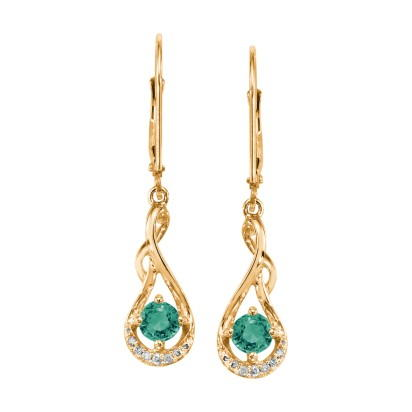 14K Yellow Gold Emerald/Diamond Earrings | ECC068E23CI