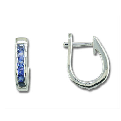 14K White Gold 2mm Round Yogo Sapphire Hoop Earrings | ECC069Y2XWI