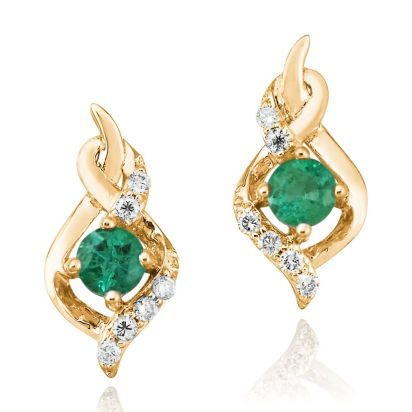 14K Yellow Gold Emerald/Diamond Earrings | ECC077E23CI
