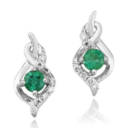 14K White Gold Emerald/Diamond Earrings | ECC077E23WI