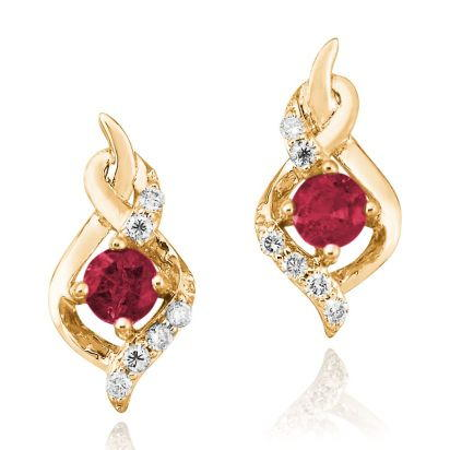 14K Yellow Gold Ruby/Diamond Earrings | ECC077R23CI