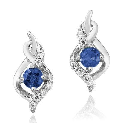 14K White Gold Blue Sapphire/Diamond Earrings | ECC077S13WI