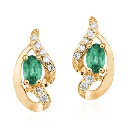 14K Yellow Gold Emerald/Diamond Earrings | ECC078E23CI