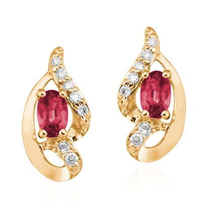 14K Yellow Gold Ruby/Diamond Earrings | ECC078R23CI