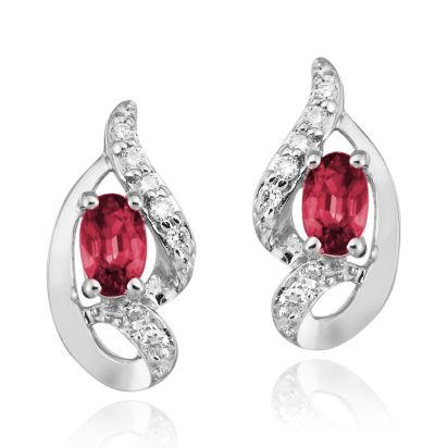 14K White Gold Ruby/Diamond Earrings | ECC078R23WI