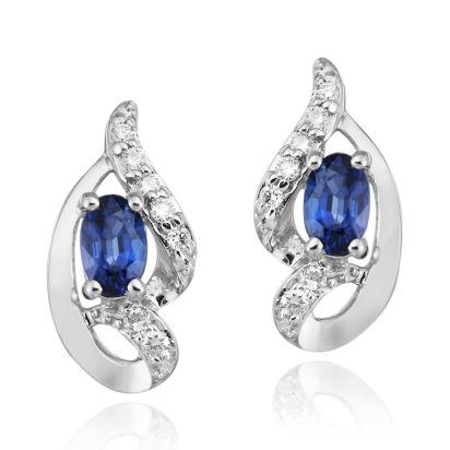 14K White Gold Blue Sapphire/Diamond Earrings | ECC078S13WI