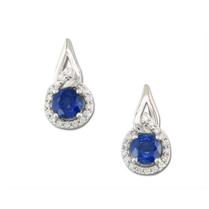14K White Gold Blue Sapphire/Diamond Earrings