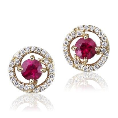 14K Yellow Gold Ruby/Diamond Earrings