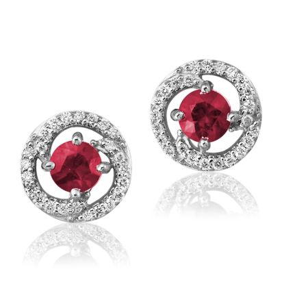 14K White Gold Ruby/Diamond Earrings | ECC082R13WI
