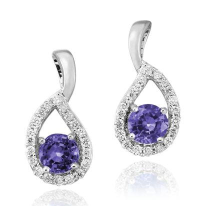 14K White Gold Tanzanite/Diamond Earrings | ECC083J23WI