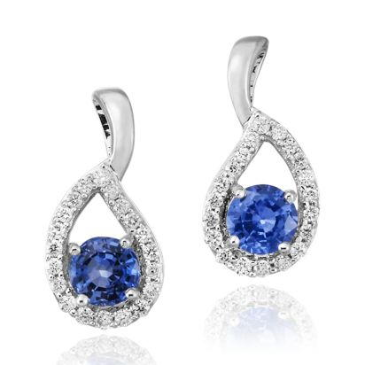14K White Gold Blue Sapphire/Diamond Earrings | ECC083S13WI