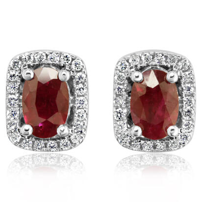14K White Gold Ruby/Diamond Earrings | ECC084R11WI