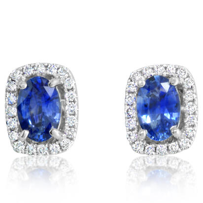 14K White Gold Blue Sapphire/Diamond Earrings | ECC084SC1WI