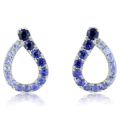 14K White Gold Graduated Blue Sapphire Earrings | ECC088GSXWI