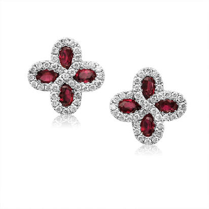 14K White Gold Madagascar Ruby/Diamond Earrings
