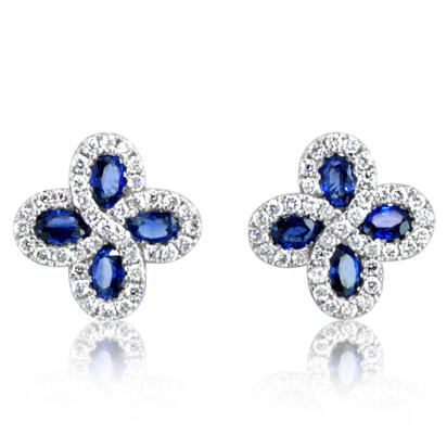 14K White Gold Sapphire/Diamond Earrings | ECC110S11WI