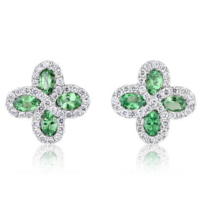 14K White Gold Tsavorite/Diamond Earrings | ECC110V21WI