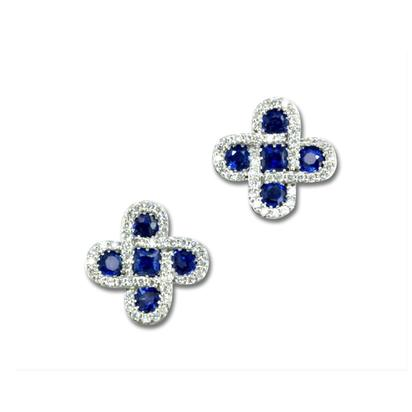 14K White Gold Blue Sapphire/Diamond Earrings | ECC111S11WI