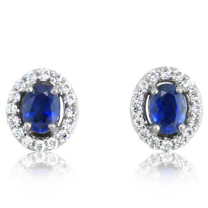 14K White Gold Sapphire/Diamond Earrings | ECC112S11WI