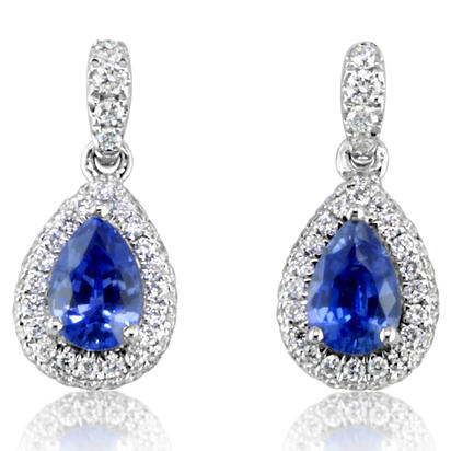 14K White Gold Ceylon Sapphire/Diamond Earrings | ECC117SC1WI