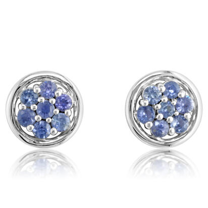 14K White Gold Yogo Sapphire Earrings | ECC119Y2XWI