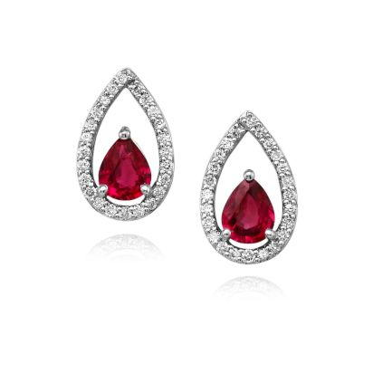 14K White Gold Ruby/Diamond Earrings | ECC126R22WI