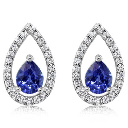 14K White Gold Sapphire/Diamond Earrings | ECC126S12WI