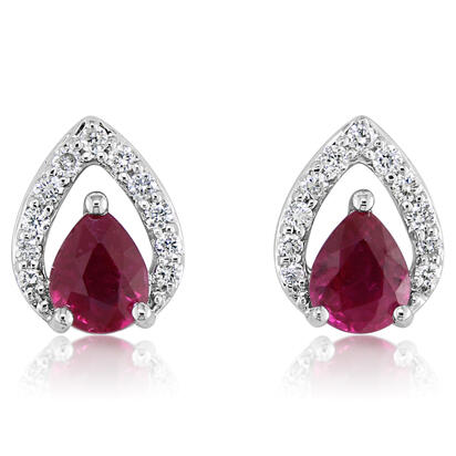 14K White Gold Mozambique Ruby/Diamond Earrings | ECC127RZ2WI