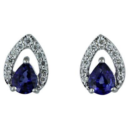 14K White Gold Sapphire/Diamond Earrings