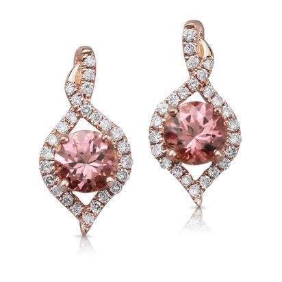 14K Rose Gold Rhodolite Garnet/Diamond Earrings | ECC128L22RI