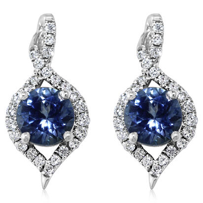 14K White Gold Montana Sapphire/Diamond Earrings | ECC128MS2WI