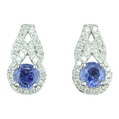 14K White Gold Blue Sapphire/Diamond Earrings | ECC138S11WI