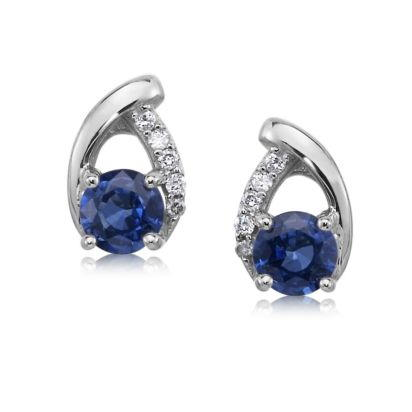 14K White Gold Blue Sapphire/Diamond Earrings | ECC142S12W