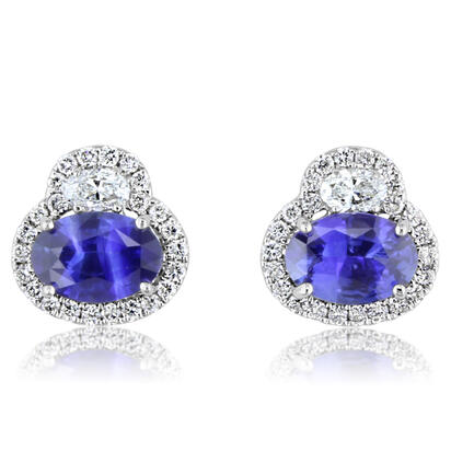 14K White Gold Ceylon Sapphire/Diamond Earrings | ECC143SC1WI