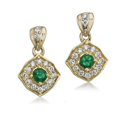 14K Yellow Gold Emerald/Diamond Earrings | ECC150E12C