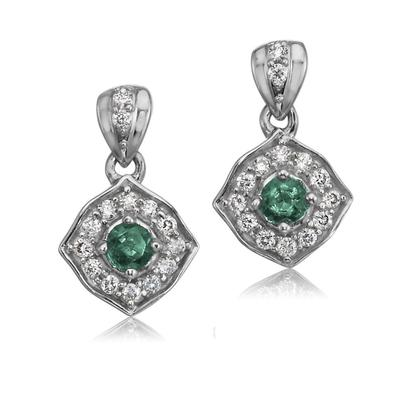 14K White Gold Emerald/Diamond Earrings | ECC150E12W