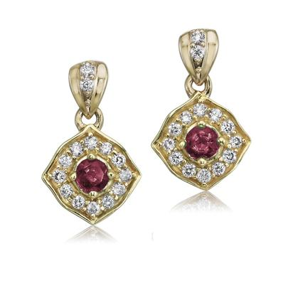 14K Yellow Gold Ruby/Diamond Earrings | ECC150R22C