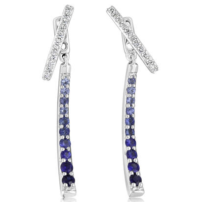14K White Gold Graduated Sapphire/Diamond Earrings | ECC153GS1WI