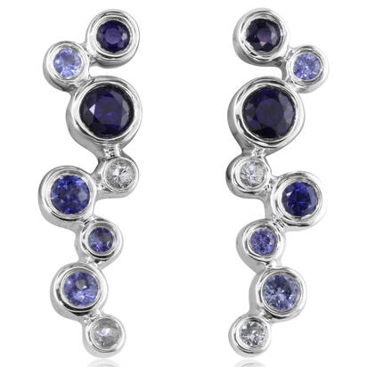 14K White Gold Graduated Blue Sapphire Earrings | ECC167GSXWI