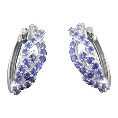 14K White Gold Graduated Blue Sapphire Earrings | ECC169GSXWI